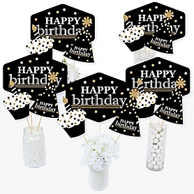 Adult Happy Birthday - Gold - Birthday Party Centerpiece Sticks - Table Toppers - Set of 15
