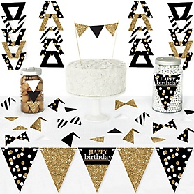 Adult Happy Birthday - Gold - DIY  Pennant Banner Decorations - Birthday Party Triangle Kit - 99 Pieces