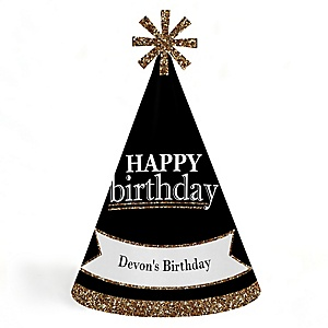 Adult Happy Birthday - Gold - Personalized Cone Happy Birthday Party Hats for Kids and Adults - Set of 8 (Standard Size)