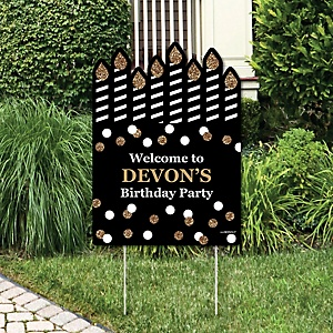 Adult Happy Birthday - Gold - Party Decorations - Birthday Party Personalized Welcome Yard Sign