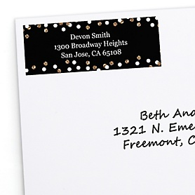 Adult Happy Birthday - Gold - Personalized Birthday Party Return Address Labels - 30 ct