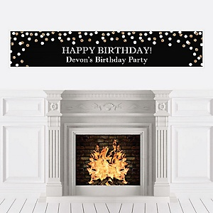 Adult Happy Birthday - Gold - Personalized Birthday Party Banner