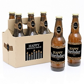 Adult Happy Birthday - Gold - Decorations for Women and Men - 6 Beer Bottle Labels and 1 Carrier - Birthday Gift
