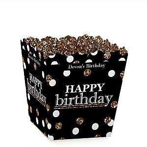 Adult Happy Birthday - Gold - Party Mini Favor Boxes - Personalized Birthday Party Treat Candy Boxes - Set of 12