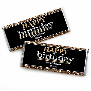 Adult Happy Birthday - Gold - Personalized Candy Bar Wrappers Birthday Party Favors - Set of 24