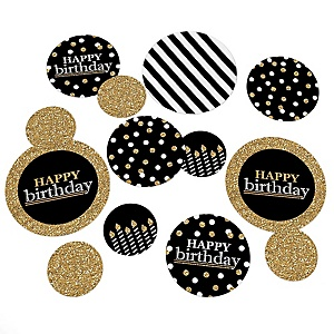 Adult Happy Birthday - Gold - Birthday Party Giant Circle Confetti - Birthday Party Decorations - Large Confetti 27 Count