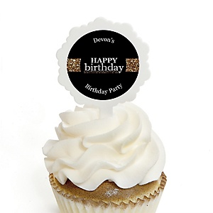 Adult Happy Birthday - Gold - Personalized Birthday Party Cupcake Pick and Sticker Kit - 12 ct