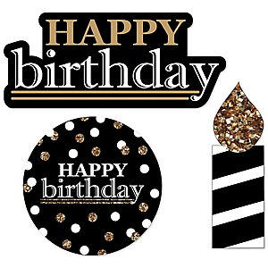 Adult Happy Birthday - Gold - DIY Shaped Party Paper Cut-Outs - 24 ct