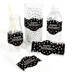 Adult Happy Birthday - Gold - DIY Party Wrappers - 15 ct
