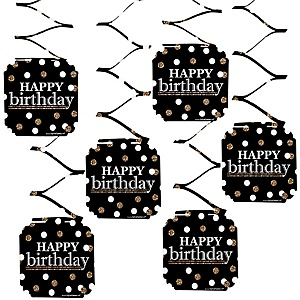 Adult Happy Birthday - Gold - Birthday Party Hanging Decorations - 6 ct