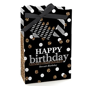 Adult Happy Birthday - Gold - Personalized Birthday Party Favor Boxes - Set of 12