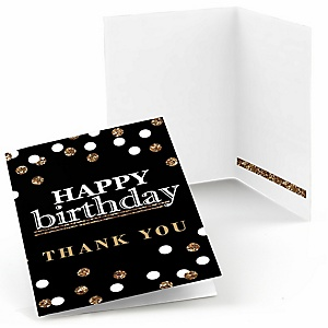 Adult Happy Birthday - Gold - Birthday Party Thank You Cards - 8 ct