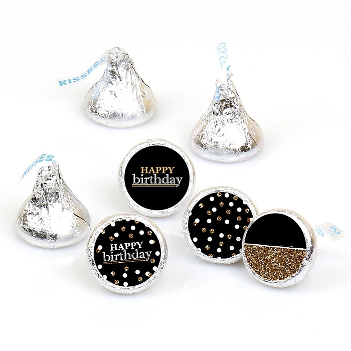 Adult Happy Birthday - Gold - Round Candy Labels Birthday Party Favors - Fits Hershey's Kisses - 108 ct