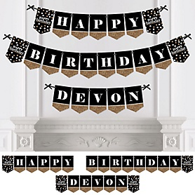 Adult Happy Birthday - Gold - Personalized Birthday Party Bunting Banner & Decorations