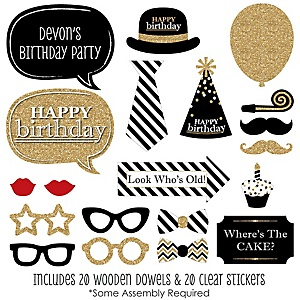 Adult Happy Birthday - Gold - 20 Piece Birthday Party Photo Booth Props Kit