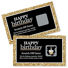 Adult Happy Birthday - Gold - Birthday Party Game Scratch Off Cards - 22 ct