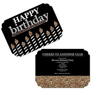 Adult Happy Birthday - Gold - Shaped Birthday Party Invitations - Set of 12