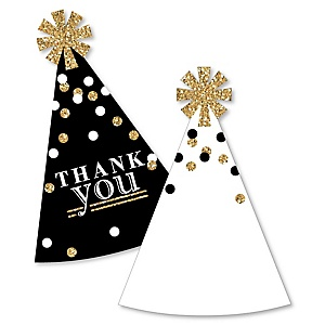 Adult Happy Birthday - Gold - Shaped Thank You Cards - Birthday Party Thank You Note Cards with Envelopes - Set of 12