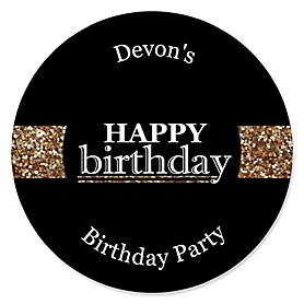 Adult Happy Birthday - Gold - Personalized Birthday Party Sticker Labels - 24 ct