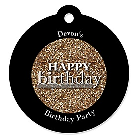 Adult Happy Birthday - Gold - Round Personalized Birthday Party Tags - 20 ct