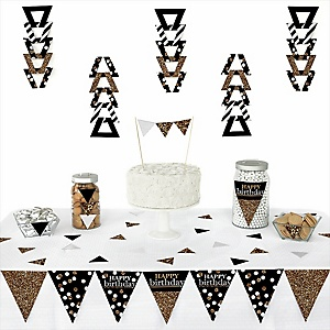 Adult Happy Birthday - Gold -  Triangle Birthday Party Decoration Kit - 72 Piece