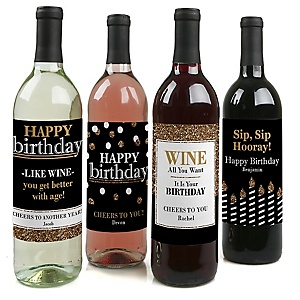 Adult Happy Birthday - Gold - Custom Wine Bottle Label Birthday Party Gift - Set of 4