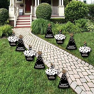 Adult Happy Birthday - Gold Lawn Decorations - Outdoor Birthday Party Yard Decorations - 10 Piece