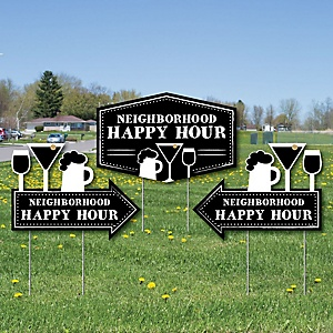 Neighborhood Happy Hour Signs - 2 Neighborhood Party Arrows and 1 Happy Hour Outdoor Lawn Sign - Doubled Sided Yard Signs - 3 Pieces
