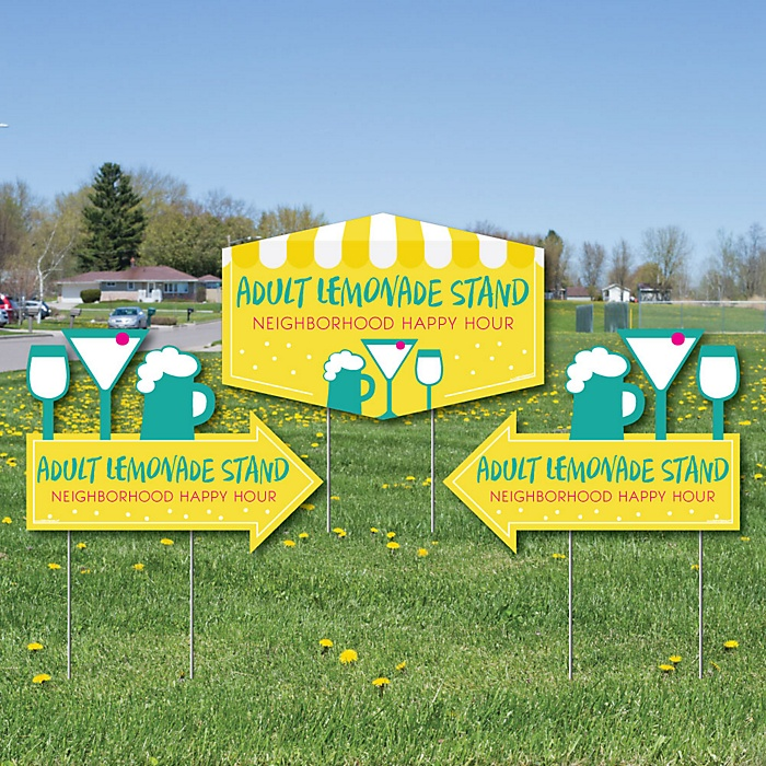 Adult Lemonade Stand - 2 Neighborhood Party Arrows and 1 Happy Hour Outdoor Lawn Sign - Doubled Sided Yard Signs - 3 Pieces