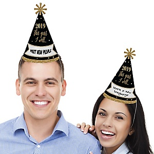 New Year's Eve - Gold - Cone Party Hats - 2019 New Year's Eve Resolution cone Party Hat for Kids and Adults - Set of 8 (Standard Size)