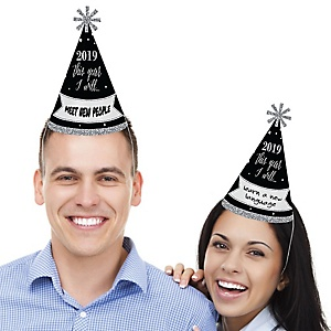 New Year's Eve - Silver - Cone Party Hats - 2019 New Year's Eve Resolution cone Party Hat for Kids and Adults - Set of 8 (Standard Size)
