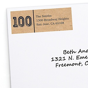 100th Milestone Birthday - Dashingly Aged to Perfection - Personalized Birthday Party Return Address Labels - 30 ct