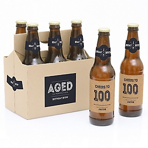 100th Milestone Birthday - Dashingly Aged to Perfection - Decorations for Women and Men - 6 Beer Bottle Label Stickers and 1 Carrier