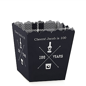 100th Milestone Birthday - Dashingly Aged to Perfection - Party Mini Favor Boxes - Personalized Birthday Party Treat Candy Boxes - Set of 12