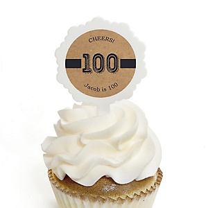 100th Milestone Birthday - Dashingly Aged to Perfection - Personalized Birthday Party Cupcake Pick and Sticker Kit - 12 ct