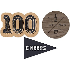100th Milestone Birthday - Dashingly Aged to Perfection - DIY Shaped Party Paper Cut-Outs - 24 ct