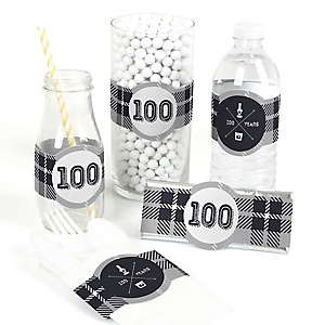 100th Milestone Birthday - Dashingly Aged to Perfection - DIY Party Wrappers - 15 ct