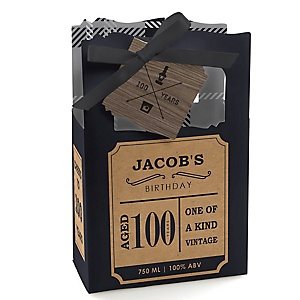 100th Milestone Birthday - Dashingly Aged to Perfection - Personalized Birthday Party Favor Boxes - Set of 12