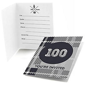 100th Milestone Birthday - Dashingly Aged to Perfection - Birthday Party Fill In Invitations - 8 ct