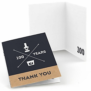 100th Milestone Birthday - Dashingly Aged to Perfection - Birthday Party Thank You Cards - 8 ct
