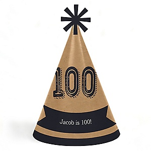 100th Milestone Birthday - Dashingly Aged to Perfection - Personalized Cone Happy Birthday Party Hats for Kids and Adults - Set of 8 (Standard Size)