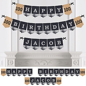 100th Milestone Birthday - Dashingly Aged to Perfection - Personalized Birthday Party Bunting Banner & Decorations