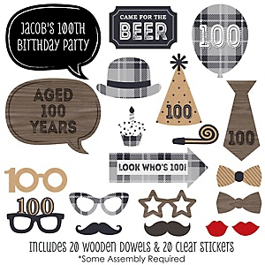 100th Milestone Birthday - Dashingly Aged to Perfection - 20 Piece Photo Booth Props Kit