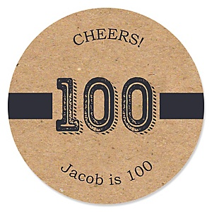 100th Milestone Birthday - Dashingly Aged to Perfection - Personalized Birthday Party Sticker Labels - 24 ct