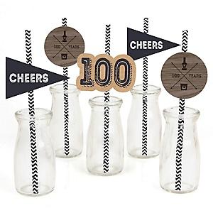 100th Milestone Birthday - Dashingly Aged to Perfection - Paper Straw Decor - Birthday Party Striped Decorative Straws - Set of 24