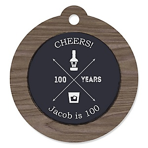 100th Milestone Birthday - Dashingly Aged to Perfection - Round Personalized Birthday Party Tags - 20 ct