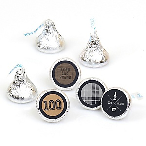 100th Milestone Birthday - Dashingly Aged to Perfection - Round Candy Labels Birthday Party Favors - Fits Hershey's Kisses - 108 ct