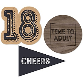18th Milestone Birthday - Dashingly Aged to Perfection - DIY Shaped Party Paper Cut-Outs - 24 ct