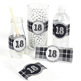 18th Milestone Birthday - Dashingly Aged to Perfection - DIY Party Wrappers - 15 ct