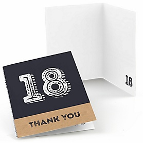 18th Milestone Birthday - Dashingly Aged to Perfection - Birthday Party Thank You Cards - 8 ct